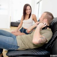 Dark haired nubile with diminutive hooters Amara Romani seducing gamer dude for hardcore sex