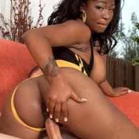 Huge-chested black MILF Ambrosa Jones boinking immense penis in leg warmers and high heels