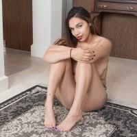 Huge-boobed brunette first-timer Victoria Marie unsheathing hairy snatch underneath cut-offs