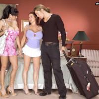 Huge-titted brunette MILF adult vid starlets Summer Sinn and Claudia KeAloha having Three way sex