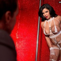 Huge-chested dark-haired stripper Savana Ginger face sitting boy in high-heeled shoes and lingerie