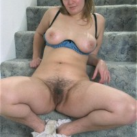 Huge-titted Euro first-timer displaying unshaven armpits and muff in the nude