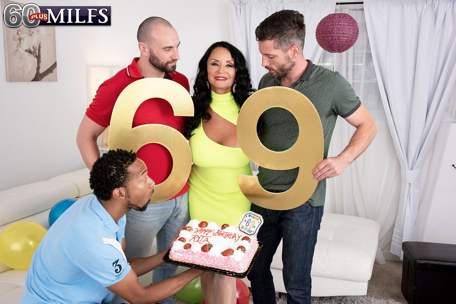 Big-boobed grandmother Rita Daniels gargles on large milky and ebony penises for birthday number sixty nine