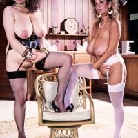 Bosomy XXX pornstar Devon Daniels and her lezzy girlfriend flaunt their hefty boobs