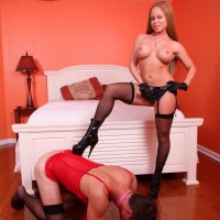 Huge-titted stocking and high heel garbed wife Nikki Delano face screwing sissy before pegging