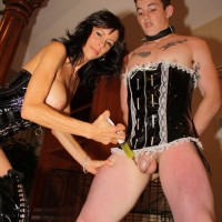 Buxom gf Alexis Faux has her sissy pleasure her in many ways and studs as well