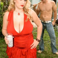 Round blonde solo girl Shyla Shy uncovering big funbags and hard nipples outdoors