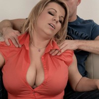 Chubby blonde stunner Veronika loosing big boobs from melon-holder before providing melon engage in intercourse
