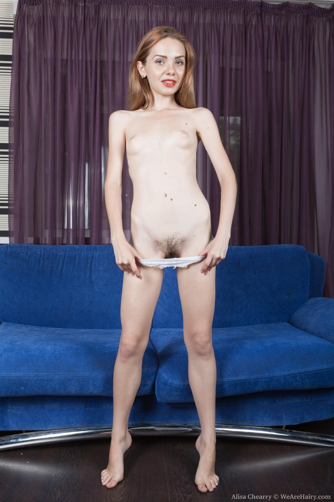 Dressed first-timer Alisa Chearry gliding off panties to uncover hairy gash