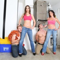 Dressed honeys Dava and Molly dominate collared sissy guys in high heeled shoes and denim jeans