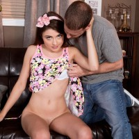 Dressed brown-haired nubile Adria having smallish breasts let out from lingerie before 60 nine sex