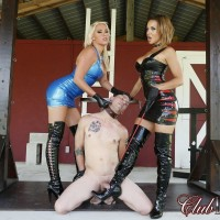 Fully-clothed Dominas Virgin and Morgan give collared masculine sub the COCK AND BALL TORMENT treatment