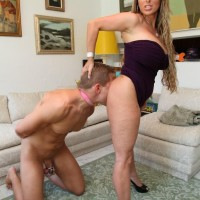 Clothed girlfriend Holly Halston hikes her sundress and makes her sub munch her ass and honeypot