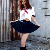 Super-cute Asian solo female Ria Sakuragi letting big all-natural melons loose from sailor uniform