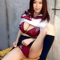 Ultra-cute Chinese solo female Ria Sakuragi letting monster-sized natural tits loose from sailor uniform