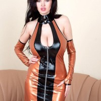 Brunette solo girl Sha Rizel flashing no panty upskirt in spandex dress and high-heeled shoes