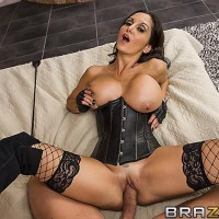 Dark haired female Ava Addams titties pokes and deep throats a penis after a rock-hard arse-fucking