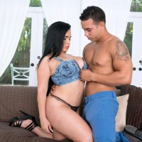 Black-haired chick Destiny entices a shirtless stud by showing him her large bum