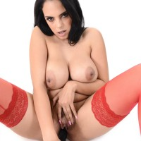 Brown-haired solo model Katrina Moreno expose her breasts wearing in red nylons