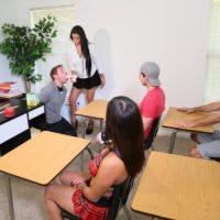 Brunette lecturer Jamie Valentine makes her students get nude during sex ed class