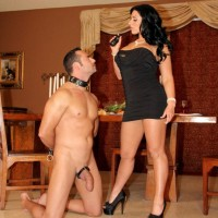 Brunette girlfriend Bella Reese makes her masculine slave slurp out her rectum in high heeled shoes