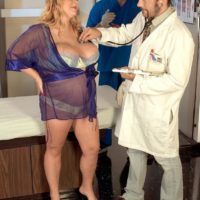Insatiable blond big sexy woman Sunshine having massive juggs kneaded by physician in examination room
