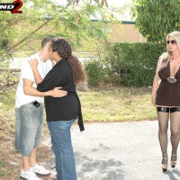 Filthy blonde MILF Summer Sinn tempts a married guy with her giant boobies in stockings