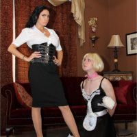 Domineering type dark haired girlfriend Emmanuelle London humiliating crossdressing sissy maid