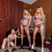 Domineering type Mickey Tyler & Princess Kelly Paige use a sissy as they sate