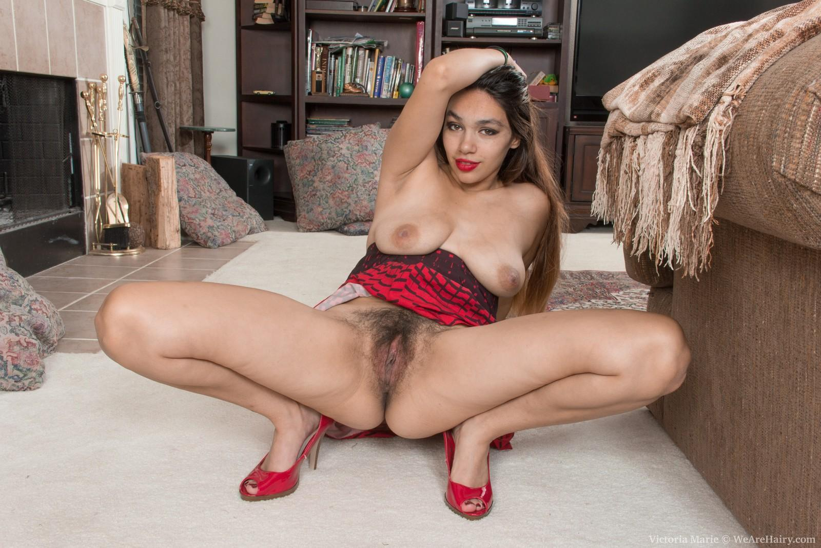 Black first timer Victoria Marie baring enormous all-natural boobies before parting furry coochie