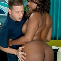 Black MILF Layla Monroe exposes her hefty ebony backside as her and a milky man de-robe