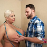 Enormous titted older blonde Claudia Marie gets fucked by a younger guy after a blow job