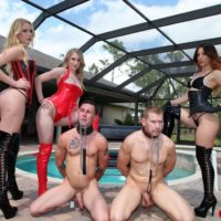 Enticing gals Vanessa, Alexa and Rydell manhandling collared submissive boys in spandex boots