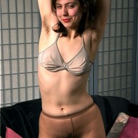Euro amateur baring indeed wooly cooch from white panties and hosiery
