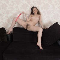 Euro brown-haired first-timer Dea Ishtar showing off ultra-cute booty and hairy cooter