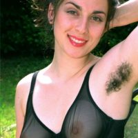 European brunette amateurs showcase hairy armpits and snatches in the backyard