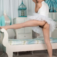 Euro dark-haired Luna vaunting furry underarms and vag in ballerina clothing