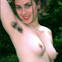 European first timers exhibit off fur covered underarms and fuckboxes outdoors in bare feet