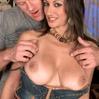 European MILF XXX film starlet Persia Monir having huge knocker extracted during make-out