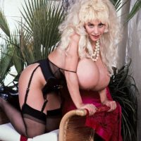 Well-known pornstar Lulu Devine lets out her humungous melons in translucent hosiery and garters