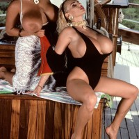 Famous pornostar Tawny Peaks and lesbo mistress free giant hooters from bathing suits on boat