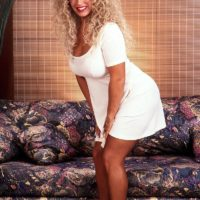 Prominent XXX adult starlet Taylor Marie pulls out her massive juggs in a white dress and lingerie