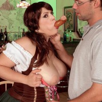 Plus size chick Brandy Ryder unveiling hooters before slurping and riding cock