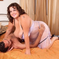 Plus-sized chick Charlie Cooper joys her dude with her massive fun bags in semitransparent lingerie