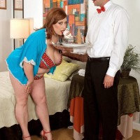 Over weight redhead pornographic star Nikki Cars seducing stud for sex after hand-job and ORAL SEX combo