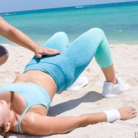 Fit beach cutie Ivy Rose exposing immense natural tits from yoga clothes before sex