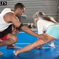 Fit mature woman Leilani Lei bj's her intimate trainer's ebony penis on a grappling pad