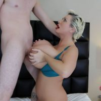 Gigantic breasted older light-haired Claudia Marie deep throats and boob screws a monster-sized white penis