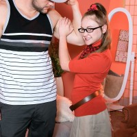 Glasses adorned first-timer nubile Lizzy Bell unsheathing small titties and booty in knee socks