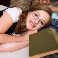 Glasses topped nubile Marissa Mae having tiny juggs unveiled in knee socks